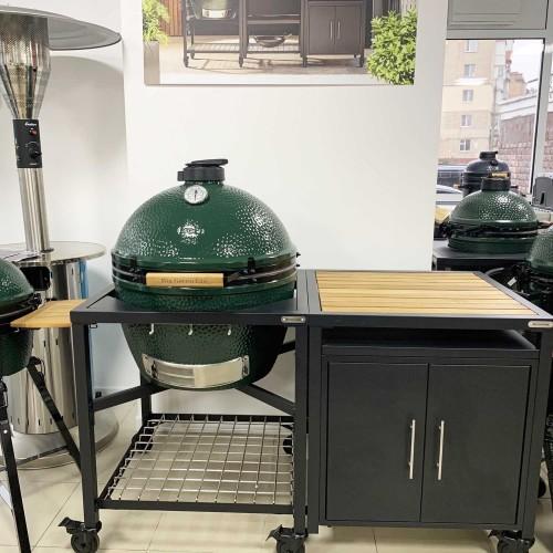 Керамический угольный гриль Big Green Egg XLARGE в каркасном столе с тумбой